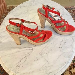 Rampage Coral Strappy Sandals, Jute Covered Heels.